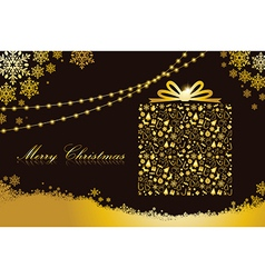 Merry christmas gold gift box shape vector