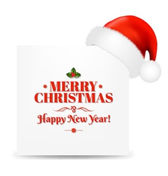 Happy christmas card with santa hat vector