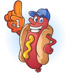 Hot dog sports fan cartoon character vector
