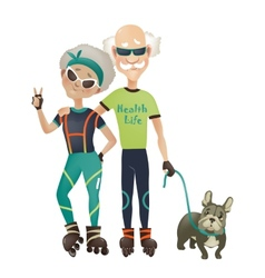 Cartoon active old couple man and woman doing vector image