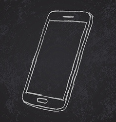 Handdrawn sketch of mobile phone outlined on vector