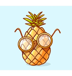 Colorful nerd pineapple with glasses on b vector