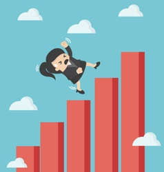 Business woman falling down graphic chart vector