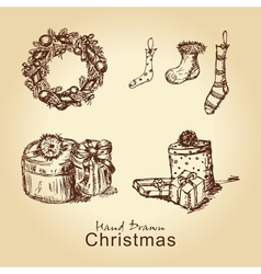 Christmas vintage collection vector