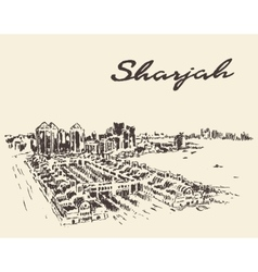 Sharjah arab emirates skyline drawn sketch vector