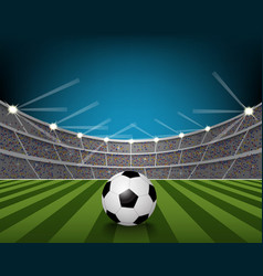 Soccer ball on the field of stadium with light vector