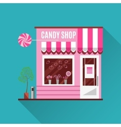 Candy shop in a pink color flat design vector