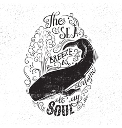 Typography concept with a whale and lettering vector