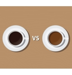 Coffee vs versus tea compare health and benefit vector