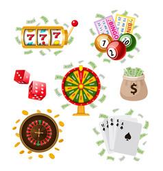 big set of flat style casino gambling symbols vector image vector image
