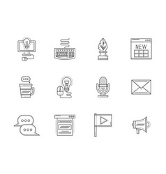 Blogging flat line icons set vector