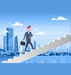 business man walking stairs up over modern city vector image vector image