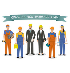 construction workers team employment and labor vector image