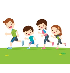 Cute family runing together vector