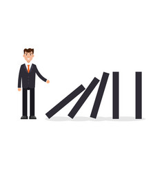 Domino effect businessman pushing the domino vector