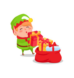 Elf santa s helper put christmas presents red sack vector