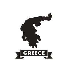 Flat icon in black and white greece map vector