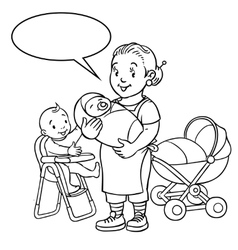 Funny mother or nanny with children coloring book vector