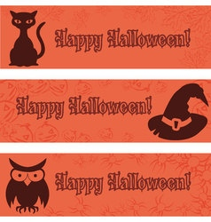 Halloween banners placards with halloween elements vector image