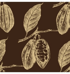 hand drawn cocoa beans seamless vector image vector image