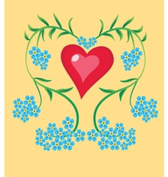 heart forget me not vector image vector image