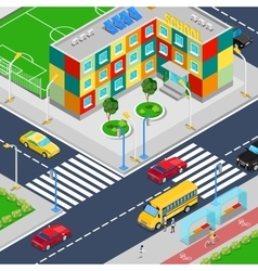 Isometric city school building with playground vector