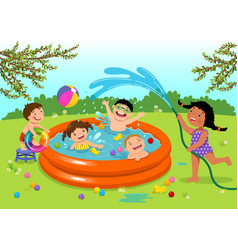 Joyful kids playing in inflatable pool in the vector