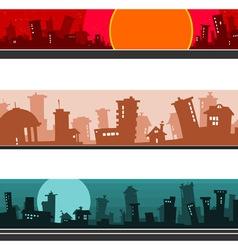 Panorama of the cartoon city set vector