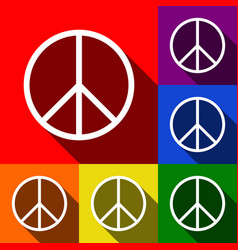 Peace sign set of icons with vector