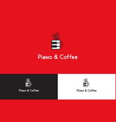 Piano and coffee logo vector