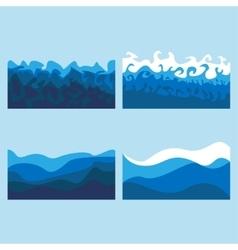 set of ocean waves vector image vector image