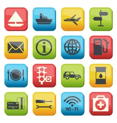 Silhouette fuel and transport colored icons vector image vector image