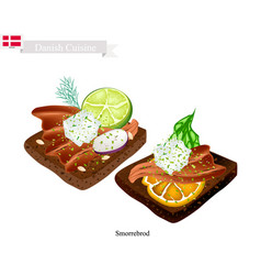 smorrebrod with smoked eel the national dish of d vector image vector image