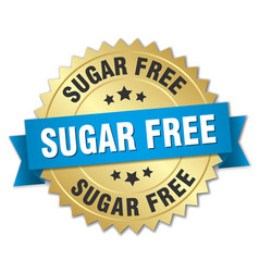 Sugar free 3d gold badge with blue ribbon vector