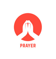 White praying hands in circle vector