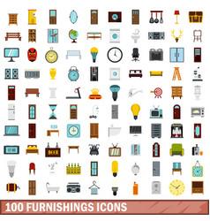 100 furnishings icons set flat style vector
