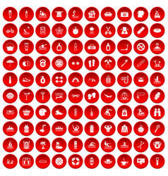 100 human health icons set red vector