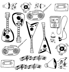 Doodle of music set guitar radio vector