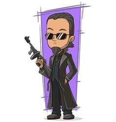 Cartoon cool killer with gun vector image