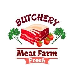 Bacon or pork meat label for butcher shop design vector