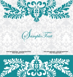 Blue swirly invitation card vector