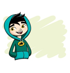 Cool boy posing in green hooded shirt vector