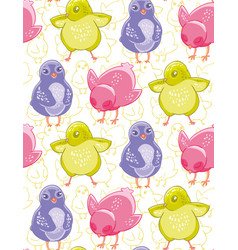 Seamless pattern with funny purple pink and green vector