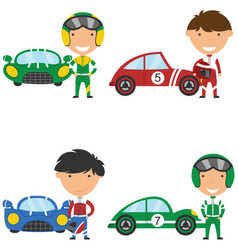 collection of racing drivers and sport cars vector image