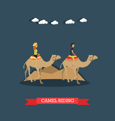 Trip to egypt camel riding concept flat vector