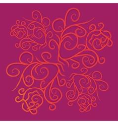 Orange floral ornate vector image