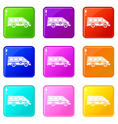 Ambulance emergency van icons 9 set vector