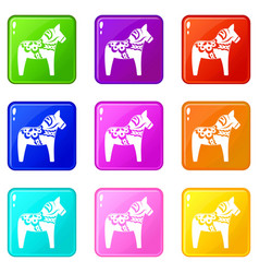 Toy horse set 9 vector