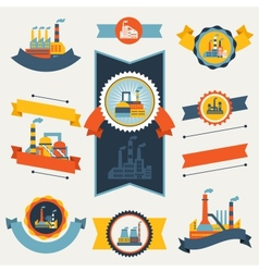 Industrial factory buildings banners ribbons and vector