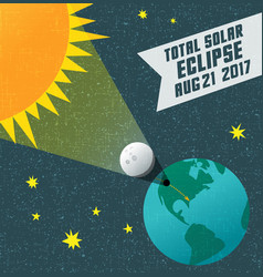 Retro science of the solar eclipse vector